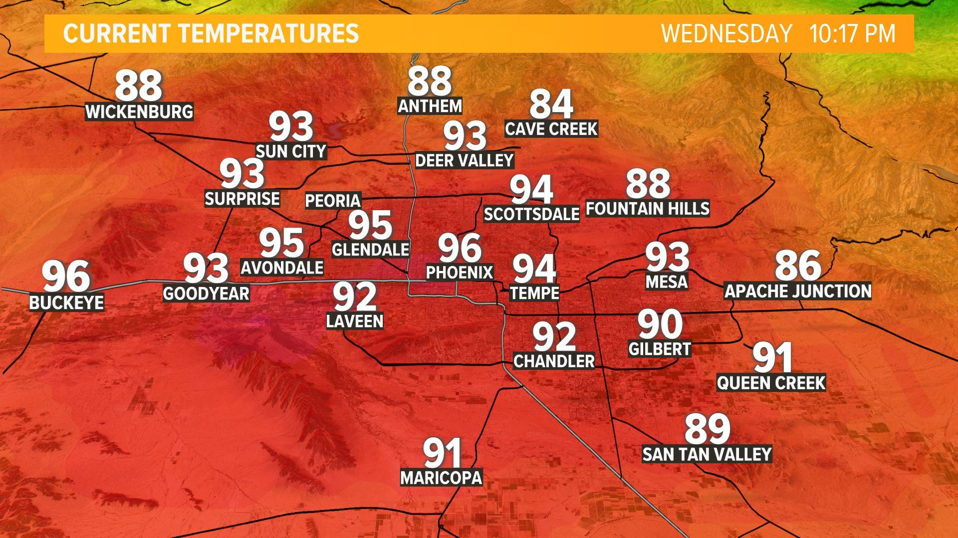 Current Valley Temperatures Courtesy 12 NEWS