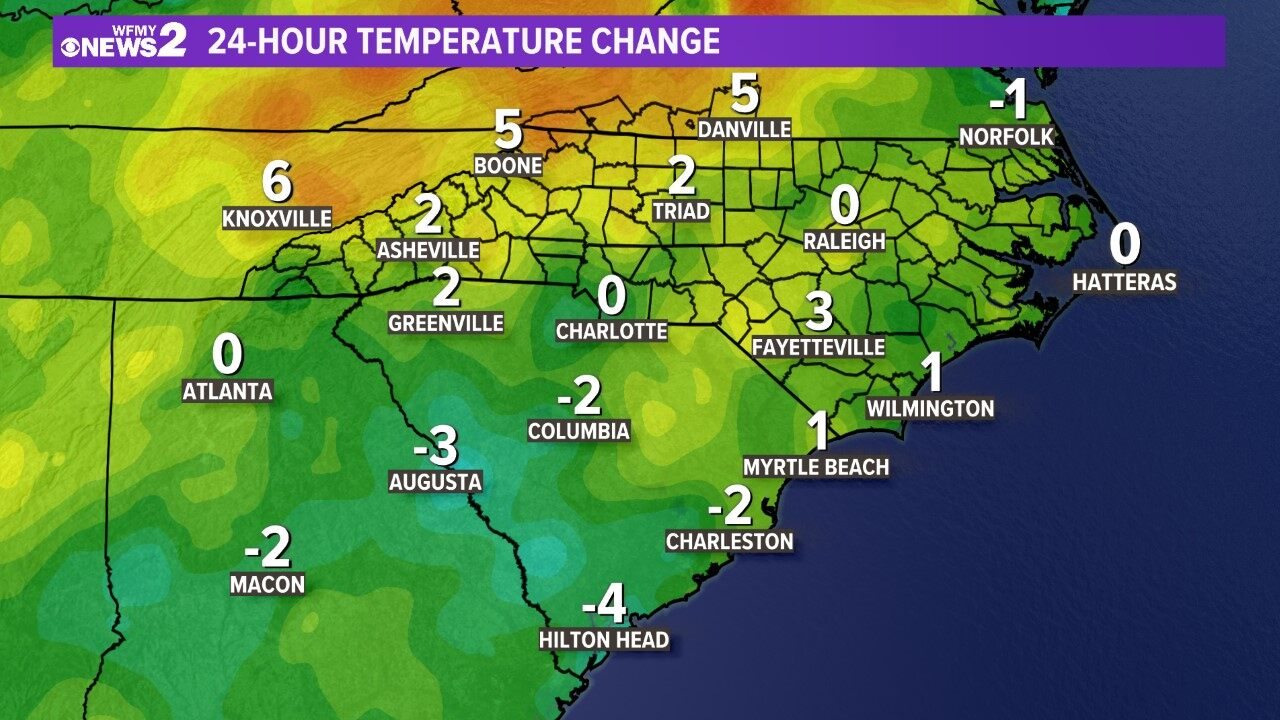 Carolinas 24 Hour Temp Change