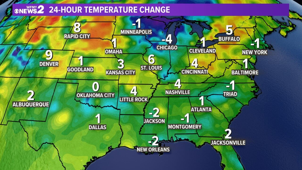 Regional 24-hour Temp Change