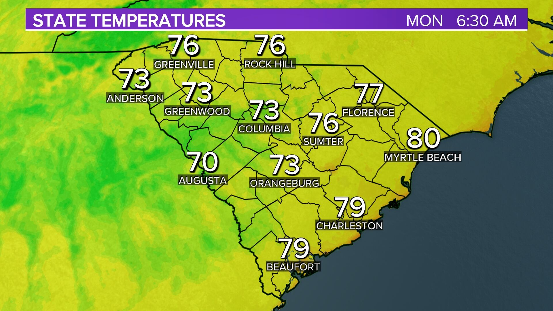 South Carolina Temps