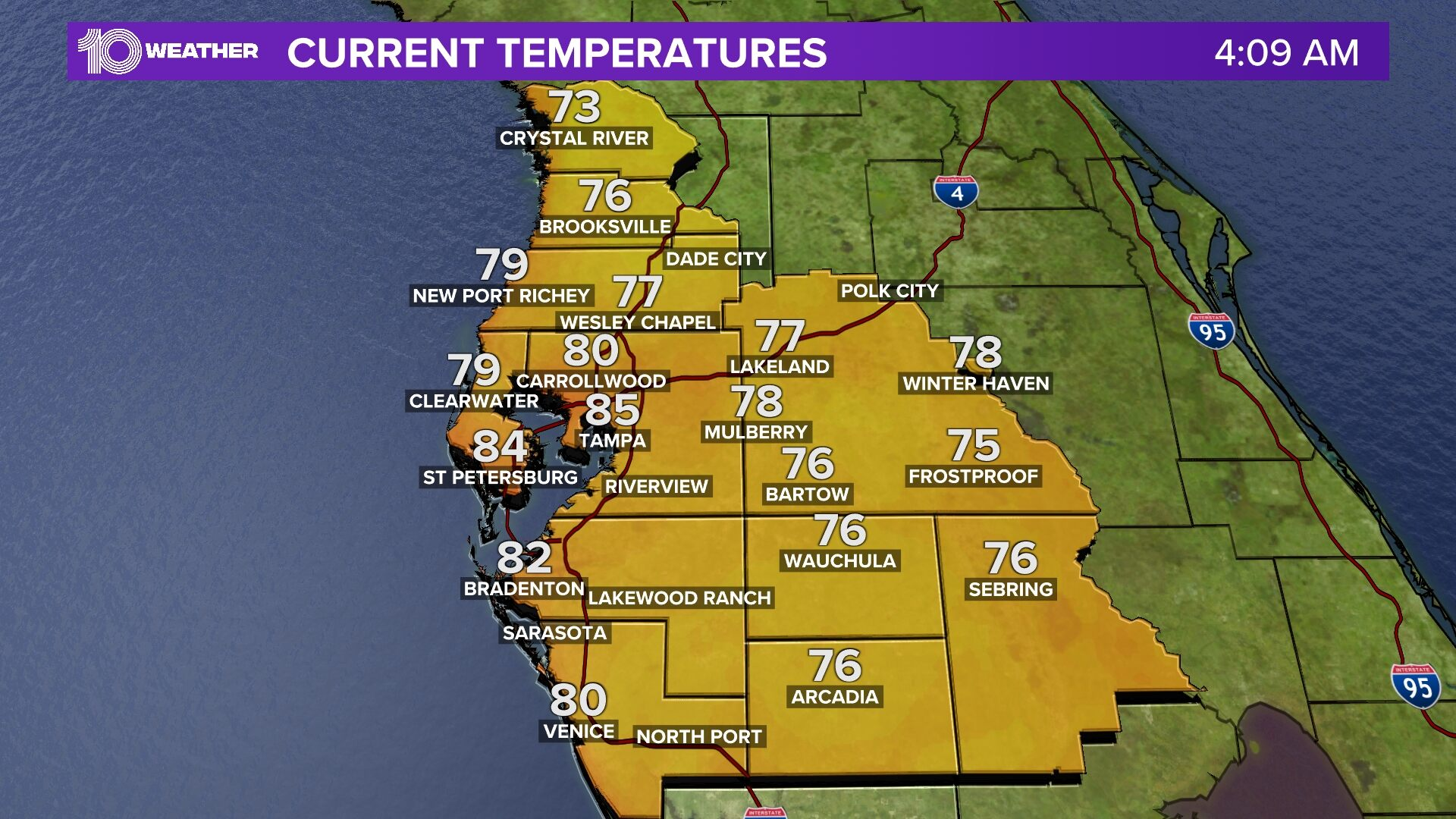 Tampa Bay Area Temperatures