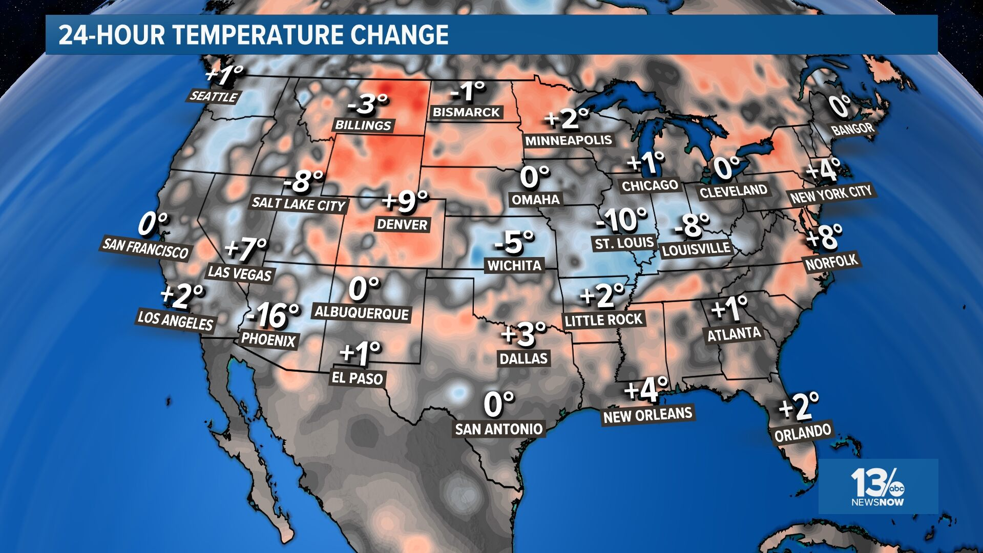 National 24 Hour Temperature Change