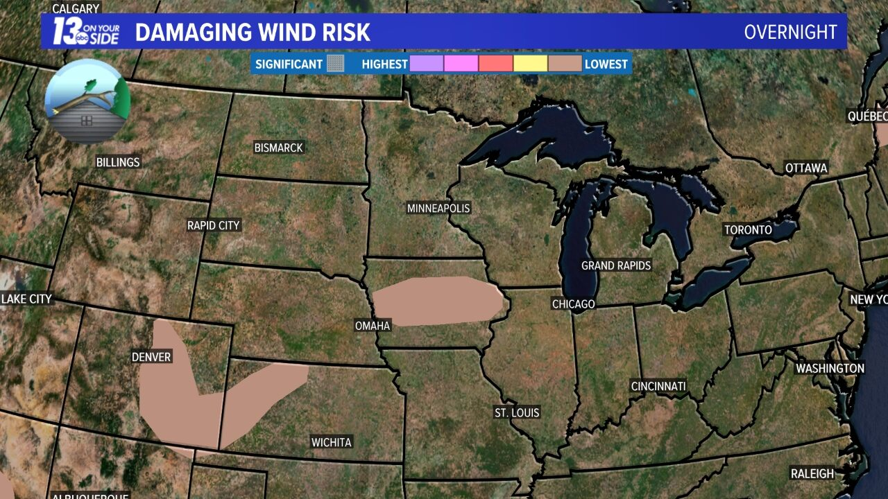 Damaging Wind Risk - Today