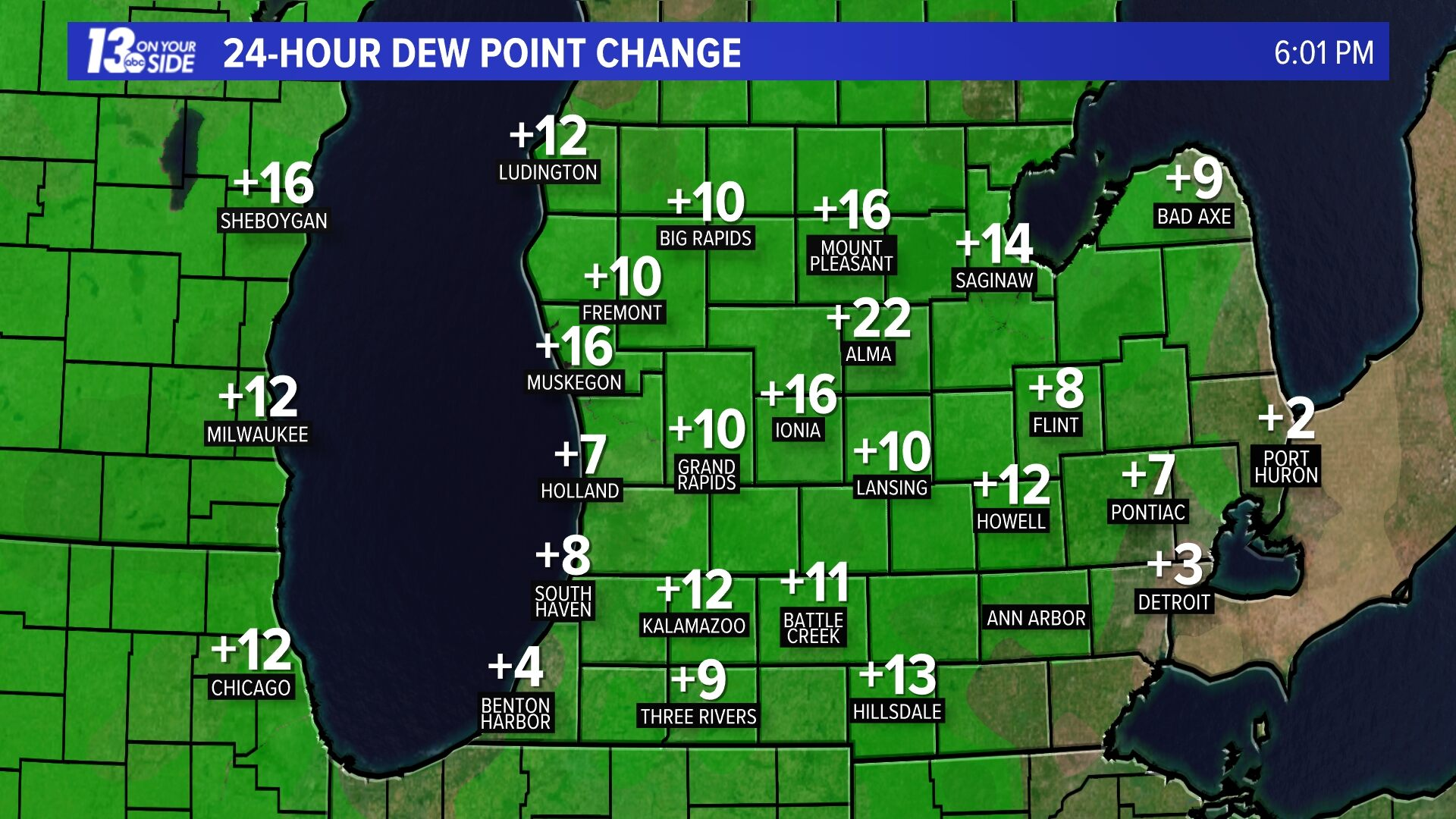 24 Hour Dewpoint Change