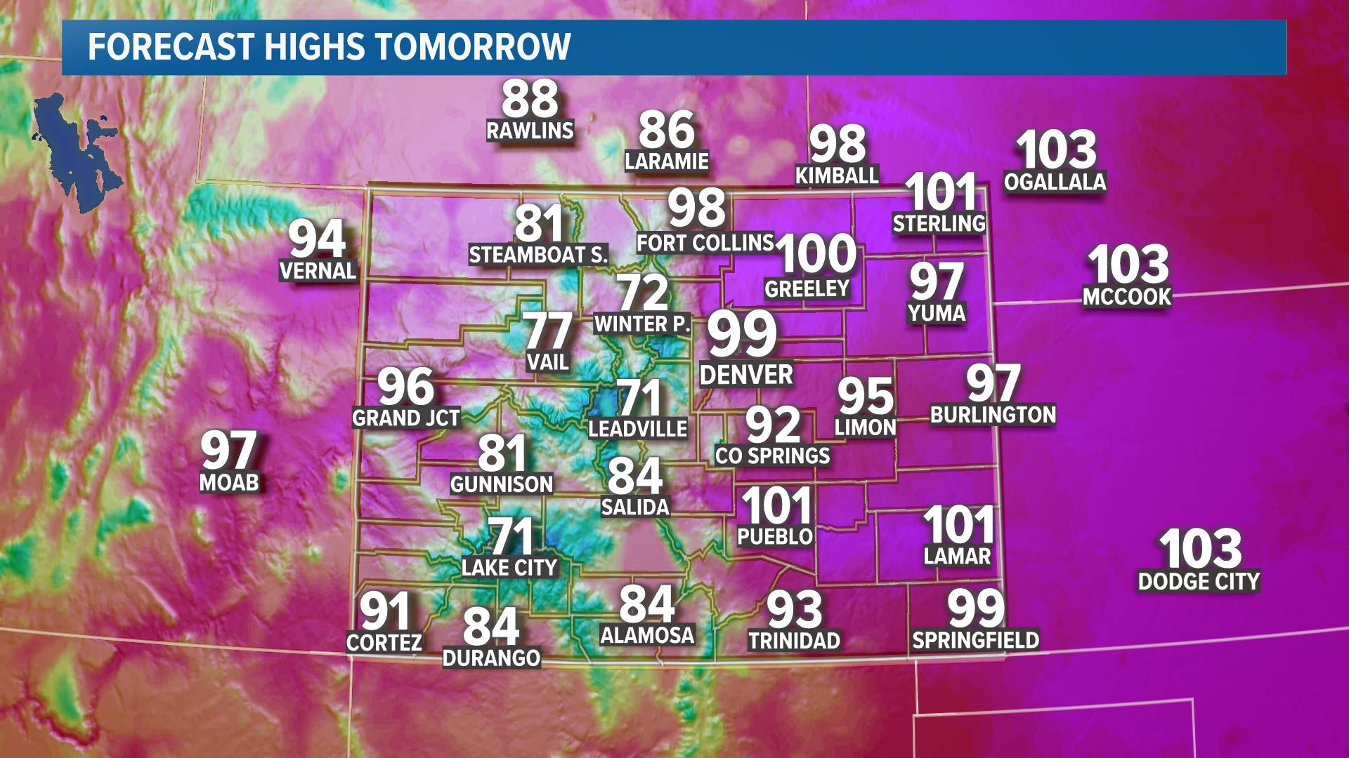Regional Highs Tomorrow