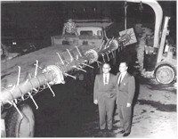 WNEP-TV 'One Million Watt' Transmitter Antenna about to be raised in 1958.