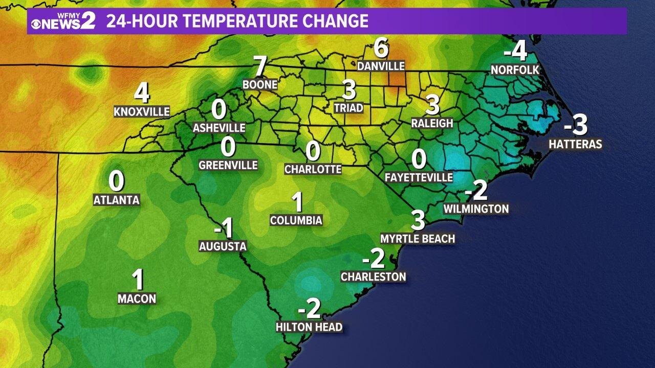 Carolinas 24 Hour Temp Change