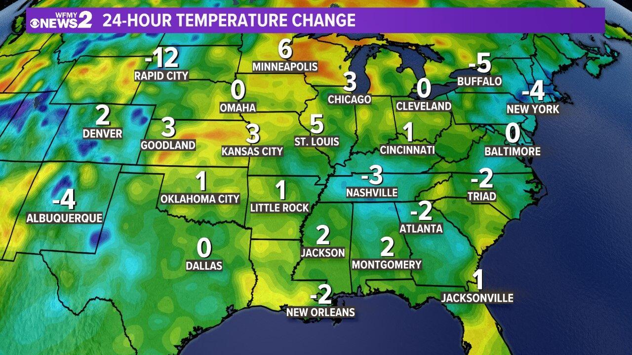 Regional 24-hour Temp Change