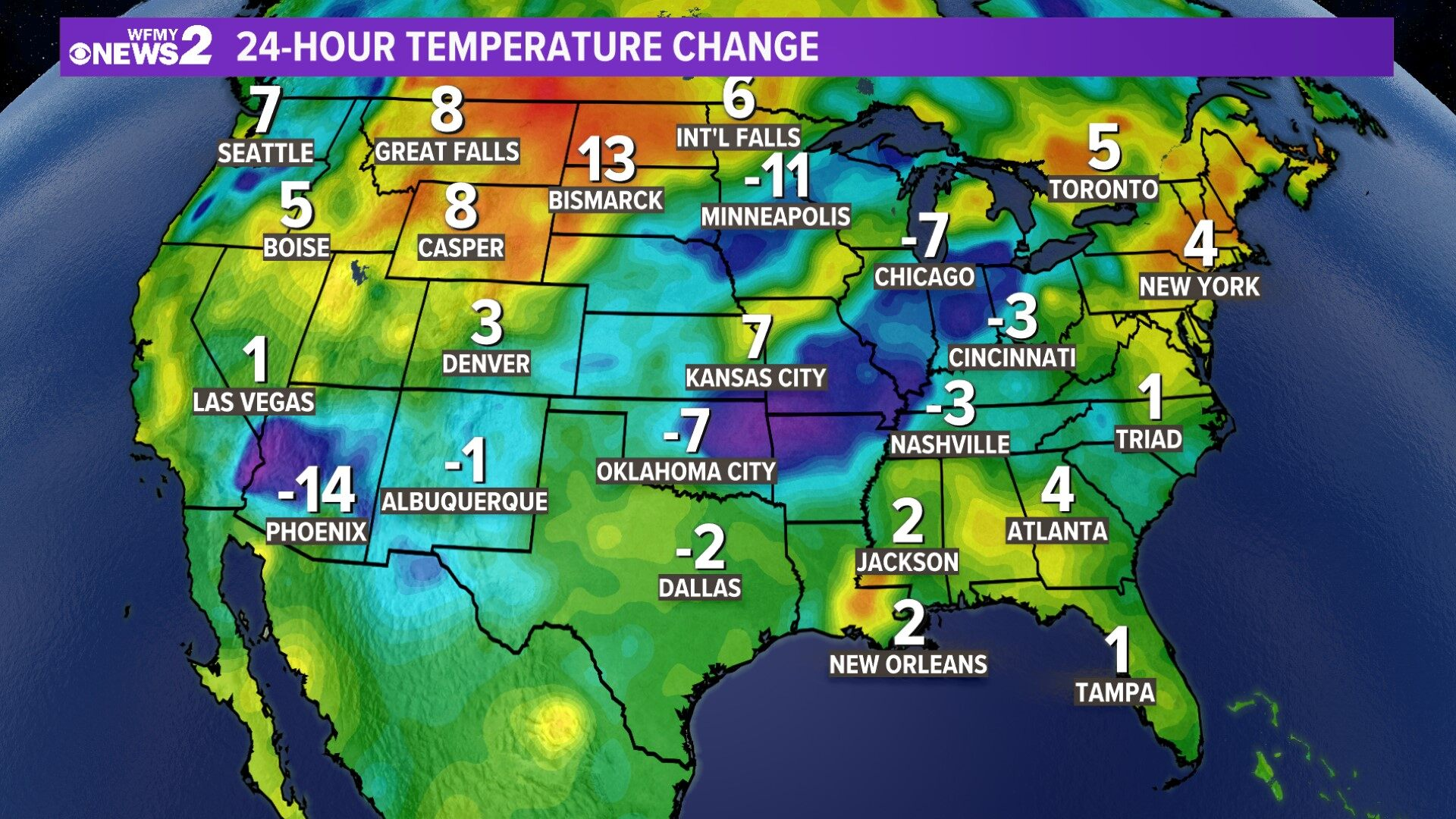 National 24-hour Temp Change
