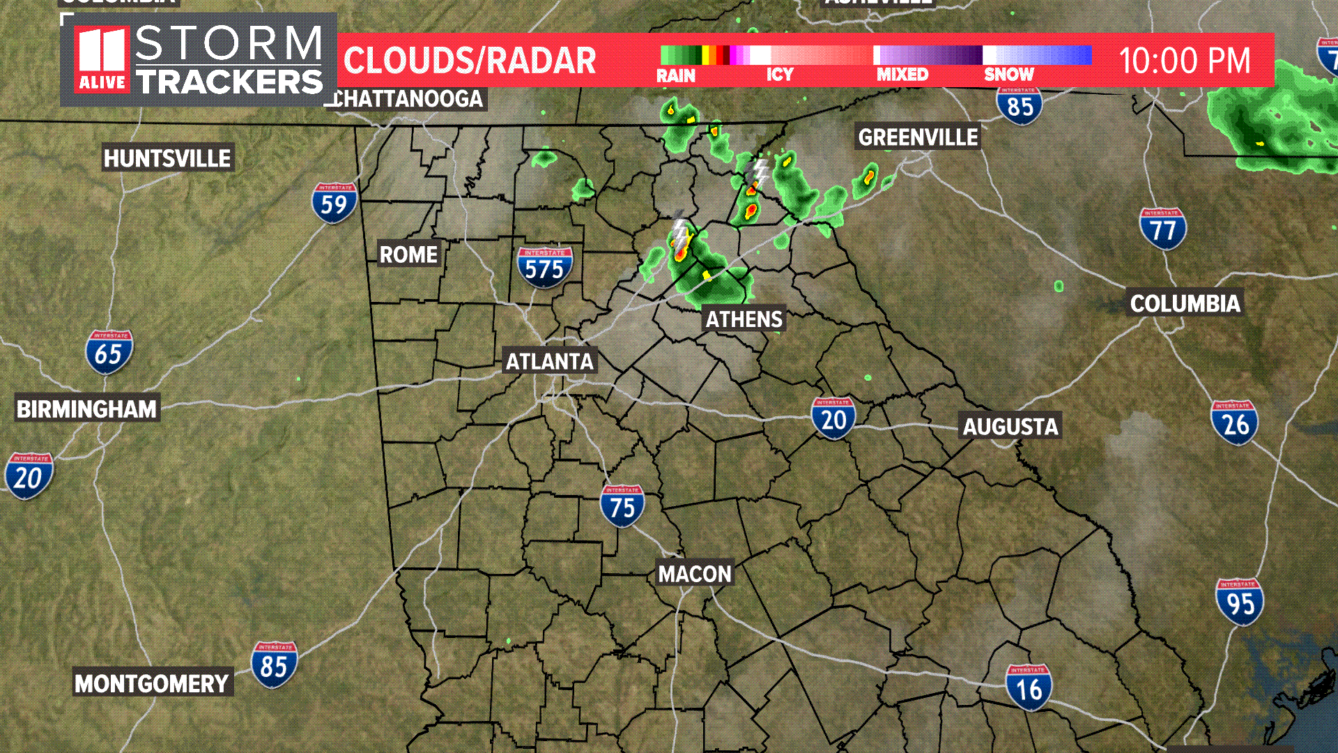 SatRad: Clouds and Rain over north Georgia