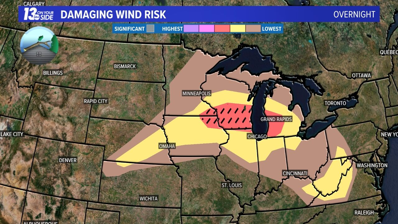 Today's Damaging Wind Risk